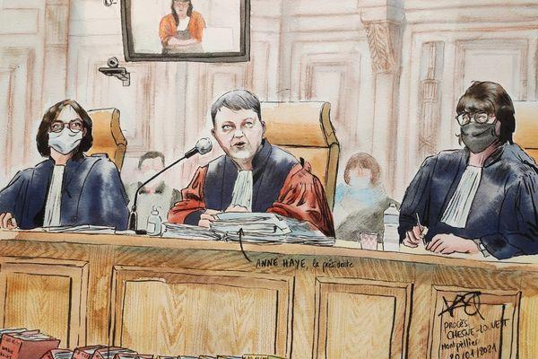 Anne Haye, présidente de la Cour d'Assises de l'Hérault et ses 2 assesseurs au procès de l'assassinat de la grotte sanglante de Sète - janvier 2021.