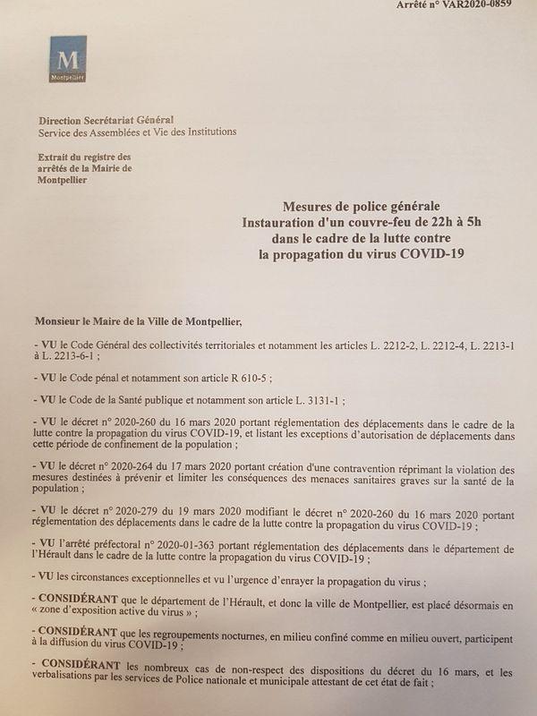 La 1ère page de l'arrêté instaurant un couvre-feu à Montpellier pour lutter contre le coronavirus