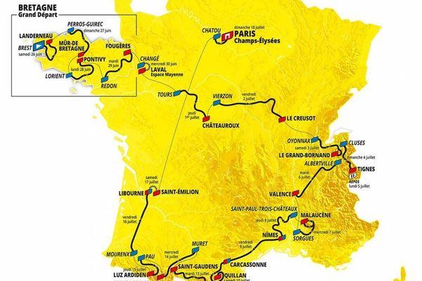 Le parcours du Tour de France 2021 avec les 4 étapes bretonnes