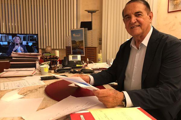 Kléber Mesquida, Président du Conseil départemental, pendant les résultats du premier tour des élections départementales et régionales le 20 juin 2021.