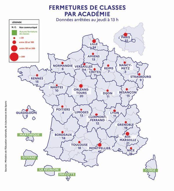 Montpellier et Lille comptent le plus de classes fermées.