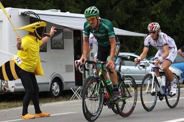 Sébastien Turgot, échappé lors de la deuxième étape du Tour du Limousin 2012 entre Oradour sur Glane et Saint-Junien.