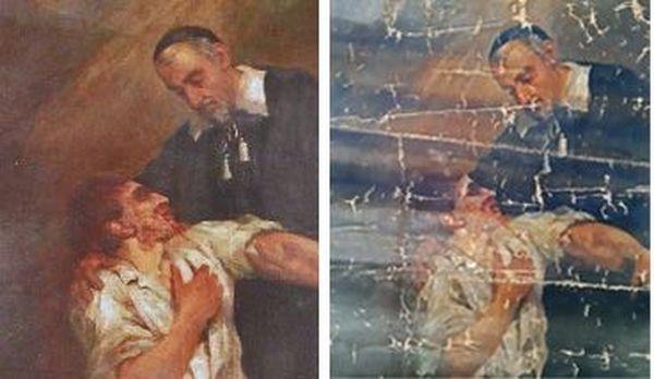 A gauche : le tableau original. A droite : le tableau restitué