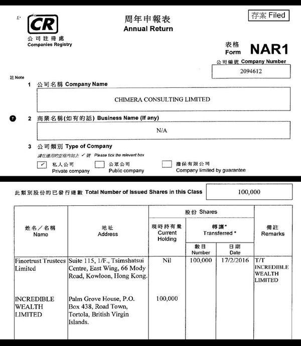 Extrait du registre du commerce de Hong-Kong qui indique le changement de propriété de Chimera Consulting le 17 février 2016.