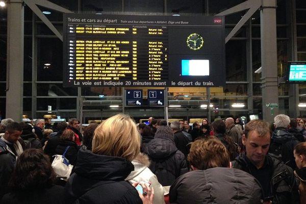 De nombreux retards affichés en gare de Nancy.