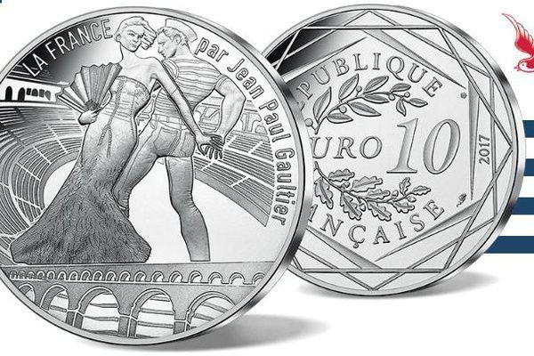 """Pièce de 10 euros argent """"le Languedoc enchanteur"""" signée Jean-Paul Gaultier pour la  Monnaie de Paris."""