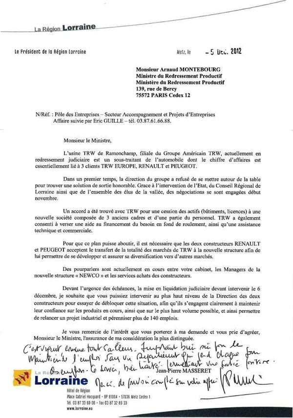 Courrier de Jean-Pierre Masseret à Arnaud Montebourg sur le dossier TRW