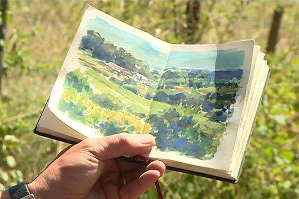 Les gouaches sur les petits carnets de David Farren exaltent les couleurs du Périgord