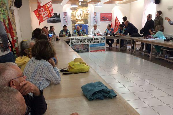 Conférence de presse des GM&S à la mairie de la Souterraine (Creuse).