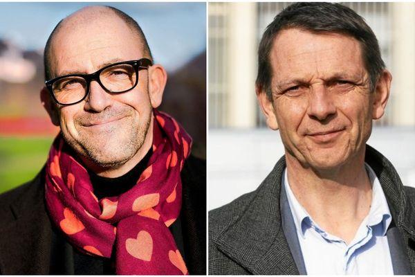Hervé GUIHARD (DVG) à gauche est face à Richard ROUXEL (MODEM) à droite pour le débat du 2e tour des éléctions municpales de Saint-Brieuc ce 25 juin