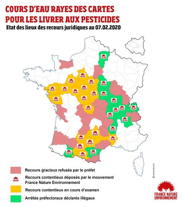 Carte des contentieux en cours entre les préfectures et la fédération d'association de défense de l'environnement FNE.