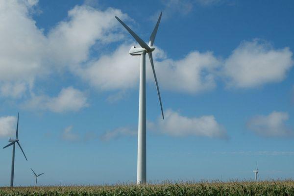 Parc éolien de Plouarzel, dans le Finistère, en Bretagne