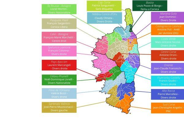 Les 19 intercommunalités de Corse