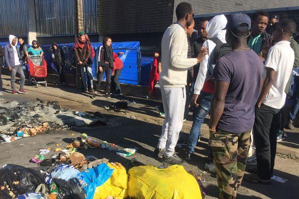 Situation tendue au gymnase Jeanne Bernard à Saint-Herblain après la mort d'un migrant, le 3 octobre 2019