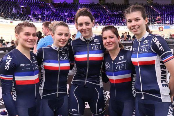 Les Morbihannaises Coralie Demay et Marie Le Net (les deux françaises le plus à droite sur la photo) ont décroché leur billet pour les JO de Tokyo en poursuite par équipe.