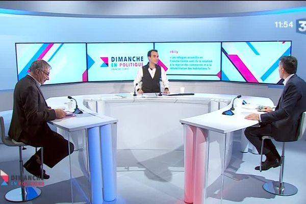 Jean-Paul Carteret et Philippe Alpy sur le plateau de Dimanche en Politique