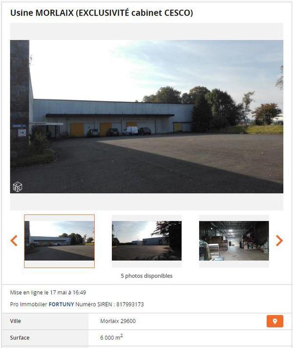 Annonce de mise en vente de l'ancienne entreprise de chorizo près de Morlaix sur Le Bon Coin
