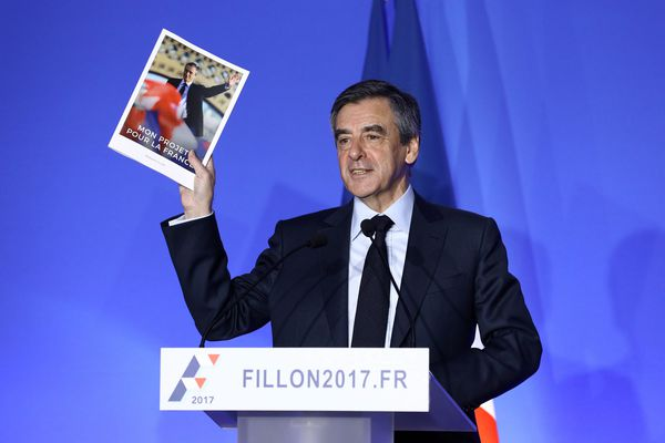 François Fillon à son QG de campagne, le 13 mars 2017