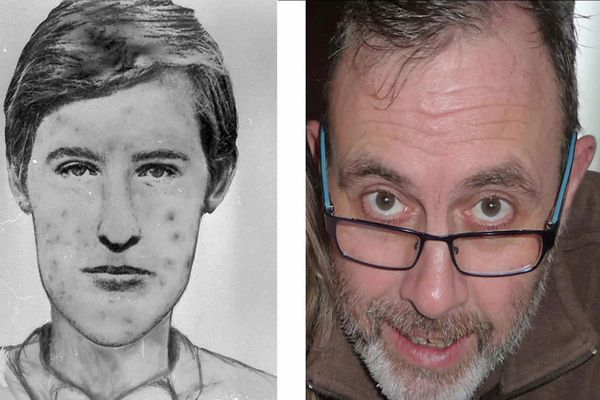 """François Verove dit """"le grêlé"""", célèbre tueur en série des années 80 et 90 et son portrait robot, il y a 35 ans."""