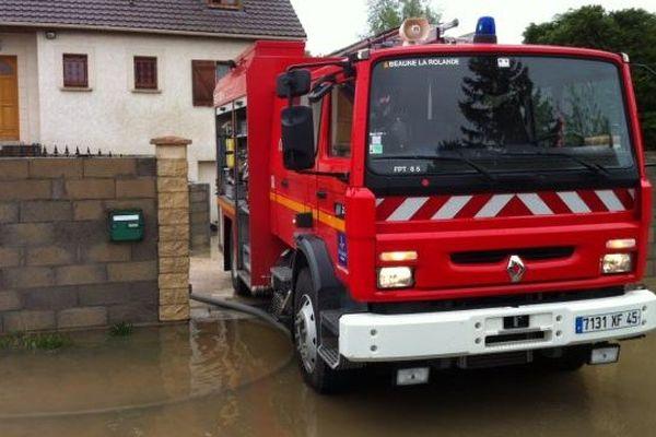 Inondation à Beaune-la-Rolande après le passage des orages - 30 avril 2014