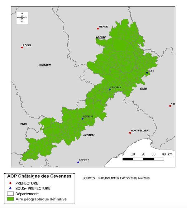 La carte du territoire de l'AOP châtaignes des Cévennes