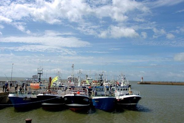 Crise de l'anchois, des bateaux de pêcheurs de La Turballe (Loire-Atlantique) et de Saint-Gilles-Croix-de-Vie (Vendée), le 10 juillet 2007 dans le port de Saint-Nazaire