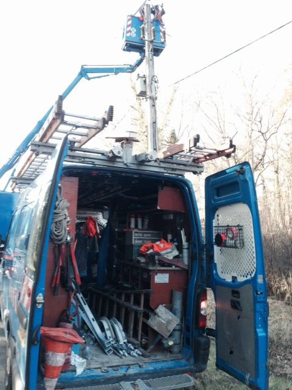Réparation lignes ERDF,Ligny-le-Ribault (45)