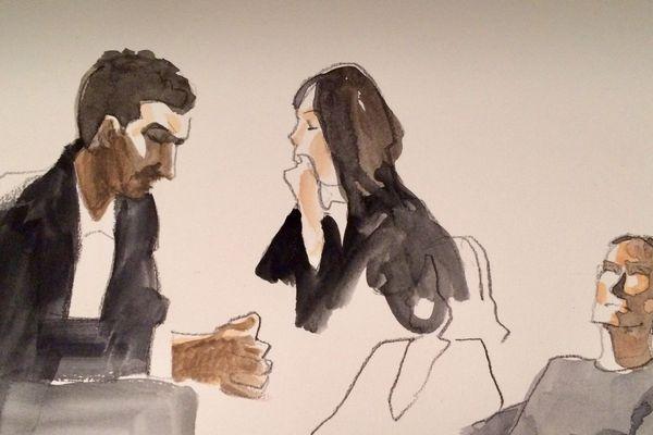 l'un des accusés avec une avocate et le père d'Eva