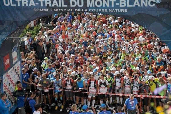 Au départ de l'Ultra trail du Mont-Blanc (UTMB) en août 2014.