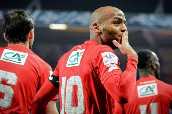 L'attaquant Jimmy Briand de l'EA Guingamp, auteur d'un but contre Le Havre en 32eme de finale de Coupe de France