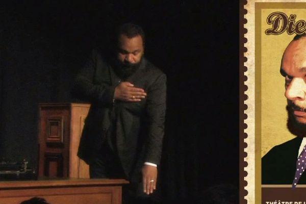 """Dieudonné: image extraite de la bande annonce du one-man show """"Foxtrot""""."""