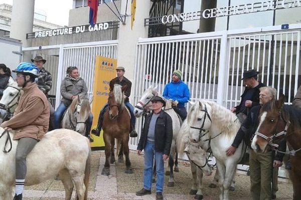 Les cavaliers représentant les entreprises de tourisme équestre viennent déposer leurs revendications