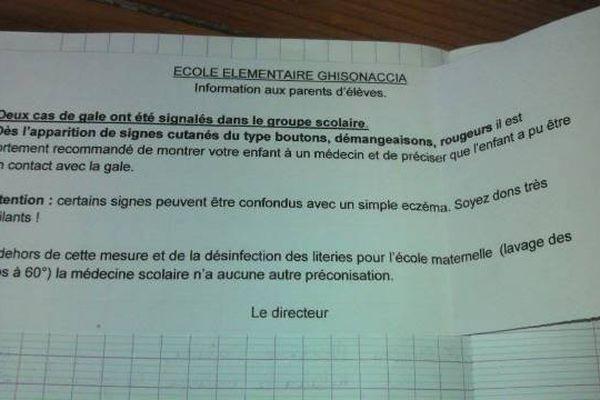 Deux cas de gale ont été signalés le 07 février à l'école maternelle de Ghisonaccia (Haute-Corse)