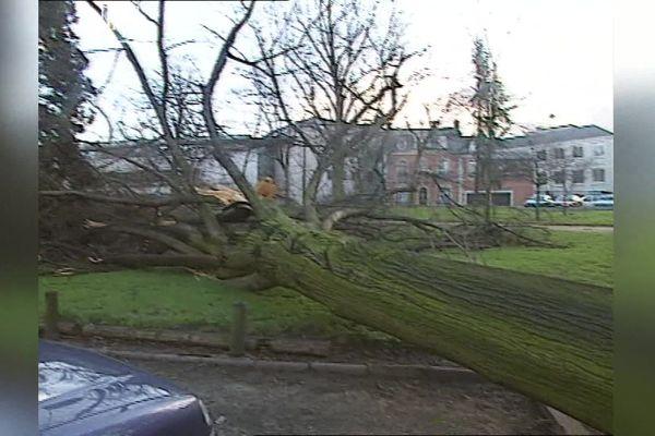 Les images de l'époque montrent des arbres couchés et des maisons endommagées par la tempête Lothar de fin décembre 1999.