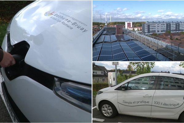 La communauté d'agglomération de Béthune produit toute l'électricité consommée par son parc de voitures électriques grâce à des panneaux solaires et une éolienne.