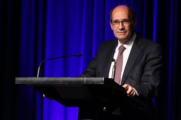 Eric Woerth, lors d'un meeting de Xavier Bertrand le 2 décembre 2015 à Amiens