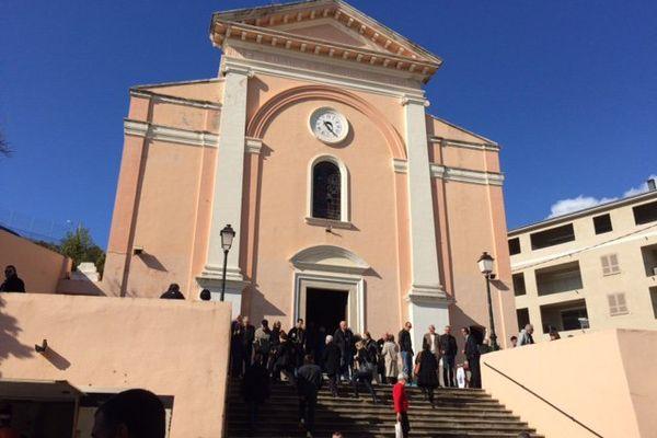 L'archiconfrérie Saint Joseph ce matin, avant la messe en langue corse, à Bastia le 19 mars 2016.