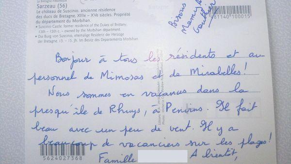 Une des cartes postales reçue par les résidents de l'Ehpad de Ménéac