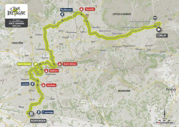 Parcours de la deuxième étape du Tour de Bretagne 2021