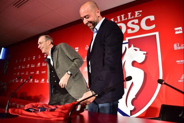 La passation de pouvoir entre Michel Seydoux et Gérard Lopez le 13 décembre dernier.
