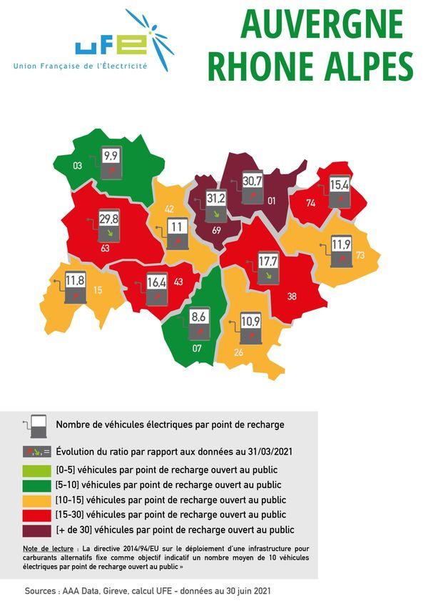 Voici l'évolution des bornes de recharge en Auvergne-Rhône-Alpes en juillet 2021.