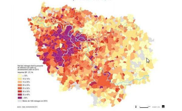 Part des ménages dont la personne de référence est cadre ou anciennement cadre en 20015 (moyenne en Île-de-France : 27,1%).