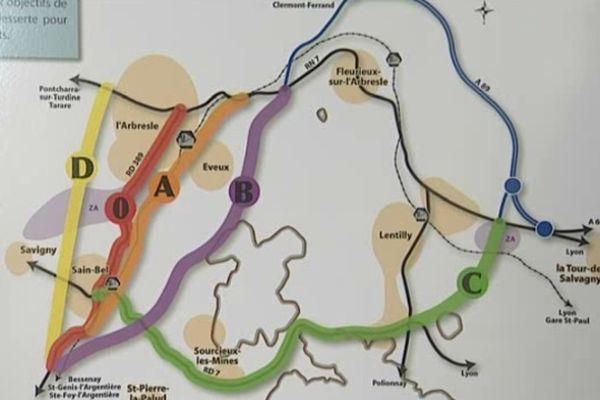 Voici les quatre alternatives proposées par le Conseil Général du Rhône, le tracé A ayant sa préférence
