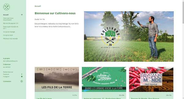 Capture d'écran du site internet CultivonsNous.TV