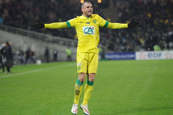Nantes / Lyon (16eme de finale de la coupe de France de Football) La joie de Vincent Bessat après son triplé historique face à Lyon