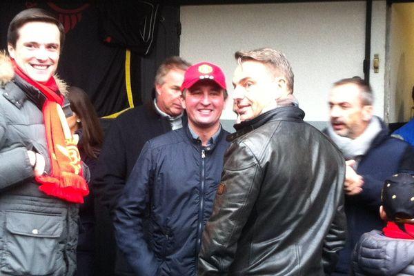 Sébastien Guarato, au centre, avec les deux copropriétaires de Bold Eagles, dimanche dernier à Vincennes.