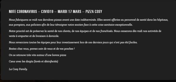 La Cosy Family a posté un message sur son site internet.