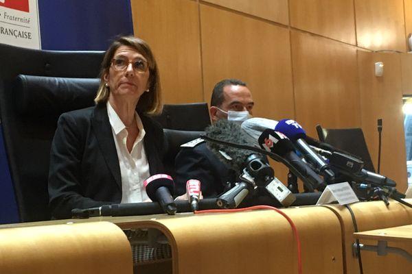 Frédérique Porterie, procureure de la république de Bordeaux, a fait une déclaration à la presse jeudi 6 mai sur les faits du féminicide qui a coûté la vie à Chahinez D.,31 ans, mardi 4 mai 2021 à Mérignac.