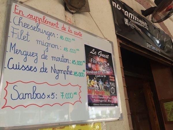 La carte du restaurant d'Alex et Clément
