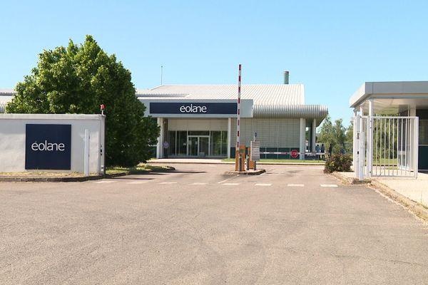 L'entrée du site d'Eolane à Montceau-les-Mines